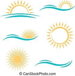 太陽 セット, 海, ロゴ