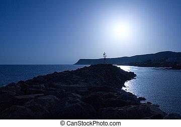 太陽, セット, 青
