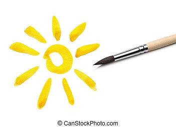 太陽, ブラシ, 図画