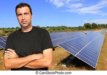 太陽, プレート, 肖像画, 人, エコロジー, 緑, エネルギー