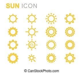 太陽, ベクトル, セット, 黄色, アイコン