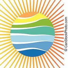 太陽, ベクトル, 浜, 反射
