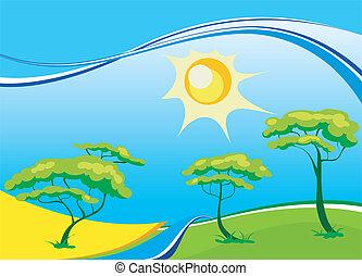 太陽, ベクトル, 風景, 木