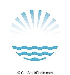 太陽, ベクトル, sea., イラスト, アイコン