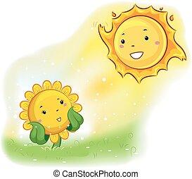 太陽, マスコット, ひまわり, 顔