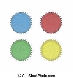 太陽, リサイクルされる, ペーパー, 白, 背景