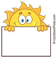 太陽, 上に, ブランク, 板, 印