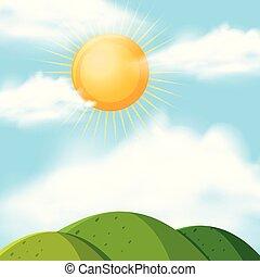太陽, 上に, 丘, 背景, 現場