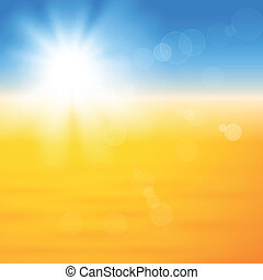 太陽, 上に, 光沢がある, 砂, 背景
