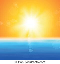 太陽, 上に, 光沢がある, 背景, 海