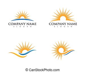 太陽, 上に, 地平線, テンプレート, ロゴ