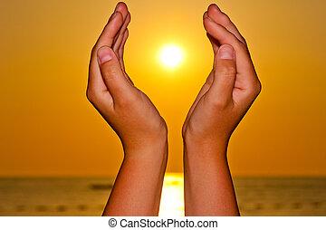 太陽, 上に, 女性, 海, 手
