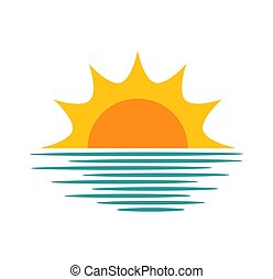 太陽, 上に, 日没, icon., 海