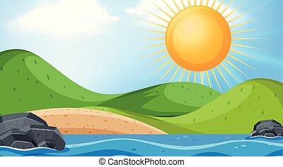 太陽, 上に, 海洋, デザイン, 背景, 大きい, 風景
