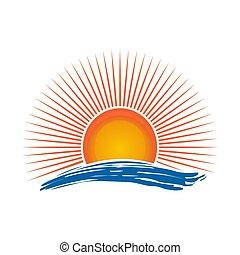 太陽, 上に, 海