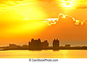 太陽, 上昇, 上に, バハマ