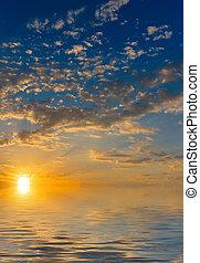 太陽, 上昇, 上に, ∥, 海, そして, 雲