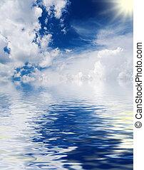 太陽, 云霧, 海