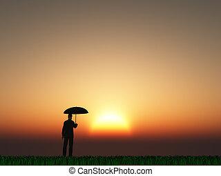 太陽, 傘, 人