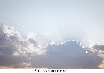 太陽, 光線, 云霧, 透過