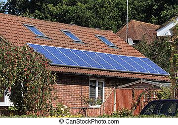 太陽, 光起電 パネル, 上に, 家