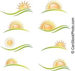 太陽, 別, セット, 風景