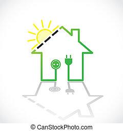 太陽, 単純である, 家, -, イラスト, 電気, 緑, 回路