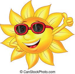 太陽, 卡通, 字, 姆指向上