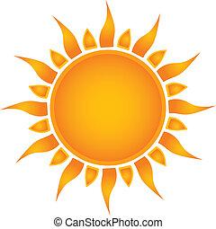 太陽, 在上方, -, 插圖, 矢量, 白色