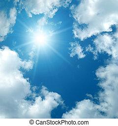 太陽, 在中間, the, 云霧