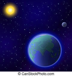 太陽, 地球, 月