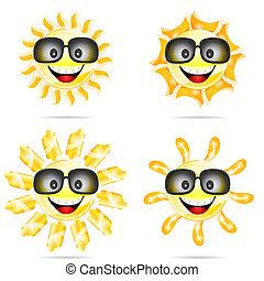 太陽, 太陽鏡, 二, 插圖, 卡通