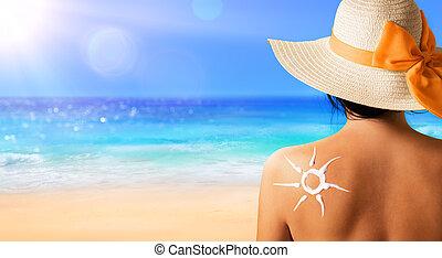 太陽, 女, ローションを 日焼けしなさい, 形づくられた