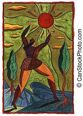 太陽, 女, 手を伸ばす