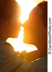 太陽, 娘, 鼻, 反対, porfiles, 海岸, 母, 感動的である