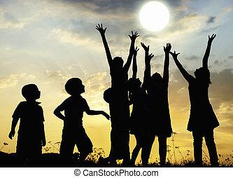 太陽, 子供, 上昇, 牧草地, 腕