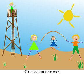 太陽, 子供, 遊び