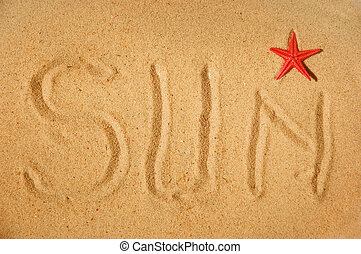 太陽, 寫, 上, 沙子, 以及, r