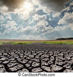 太陽, 干ばつ, 上に, 暑い, 地球