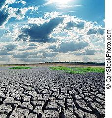 太陽, 干ばつ, 土地, 暑い, 下に
