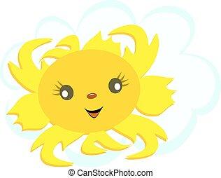 太陽, 幸せ, 雲, 顔