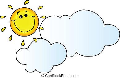 太陽, 微笑, の後ろ, 雲