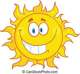 太陽, 微笑, 特徴, 漫画