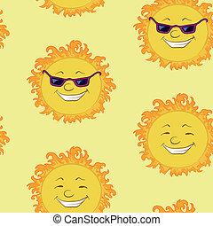 太陽, 微笑, 背景, seamless, 漫画