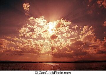 太陽, 戲劇性, 云霧, 梁, 天空