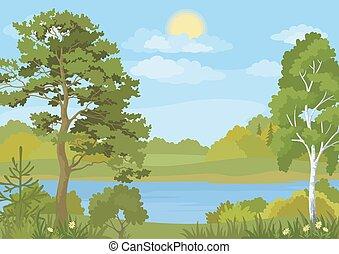 太陽, 木, 湖, 風景