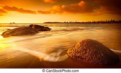 太陽, 染められる, 浜