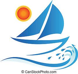 太陽, 波, ボート, ロゴ