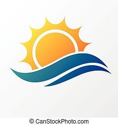 太陽, 海, 波