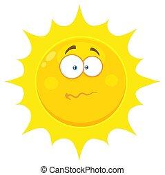 太陽, 特徴, 混乱させられた, 黄色の額面, 神経質, 表現, 漫画, emoji